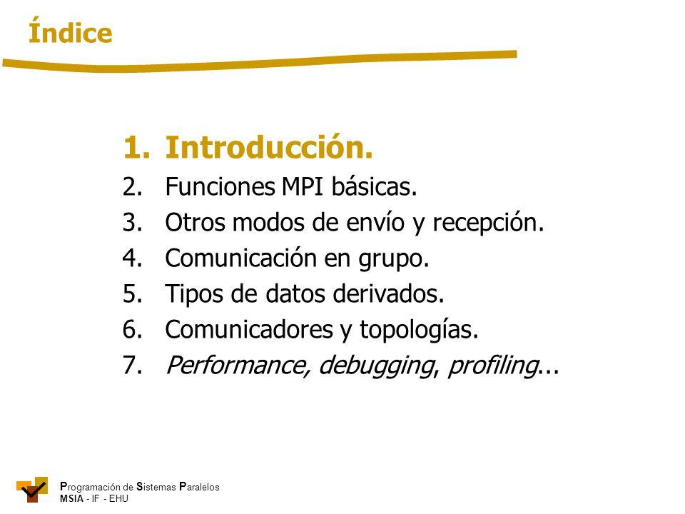 1. Introducción. Índice 2. Funciones MPI básicas.