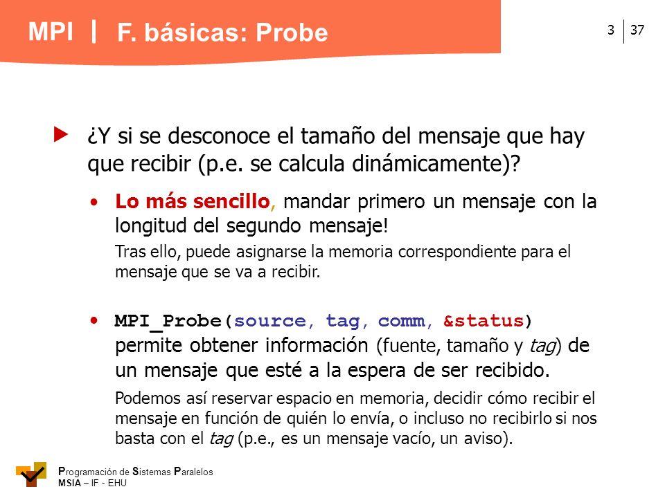 F. básicas: Probe  ¿Y si se desconoce el tamaño del mensaje que hay que recibir (p.e. se calcula dinámicamente)