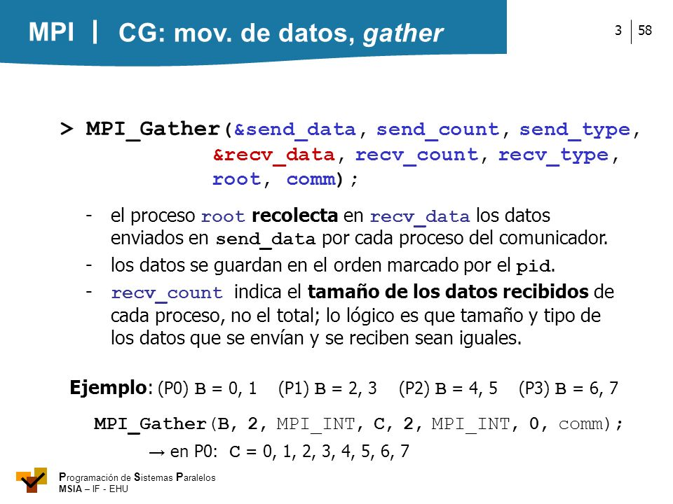 CG: mov. de datos, gather > MPI_Gather(&send_data, send_count, send_type, &recv_data, recv_count, recv_type, root, comm);