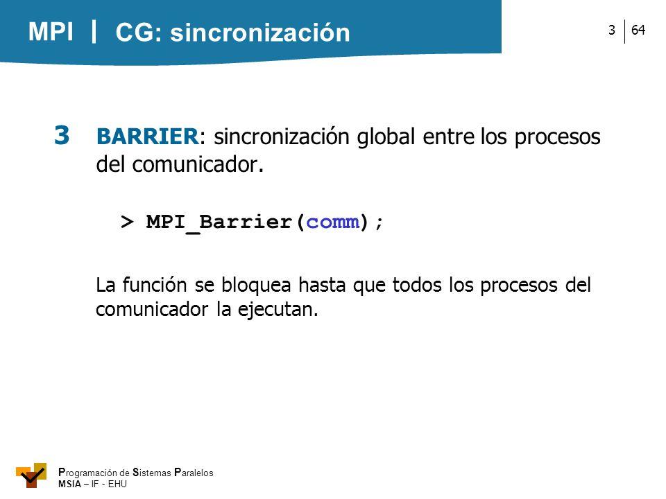 3 BARRIER: sincronización global entre los procesos del comunicador.