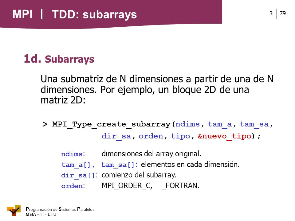 TDD: subarrays 1d. Subarrays