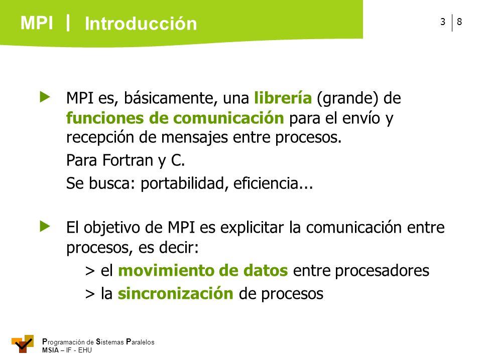 Introducción MPI es, básicamente, una librería (grande) de funciones de comunicación para el envío y recepción de mensajes entre procesos.