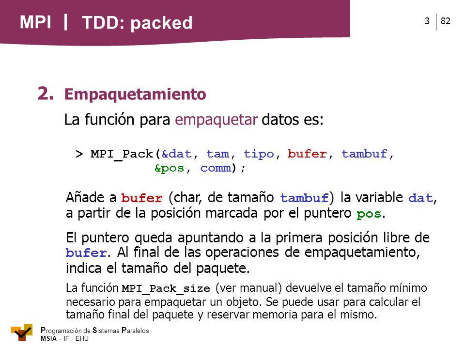 TDD: packed 2. Empaquetamiento La función para empaquetar datos es: