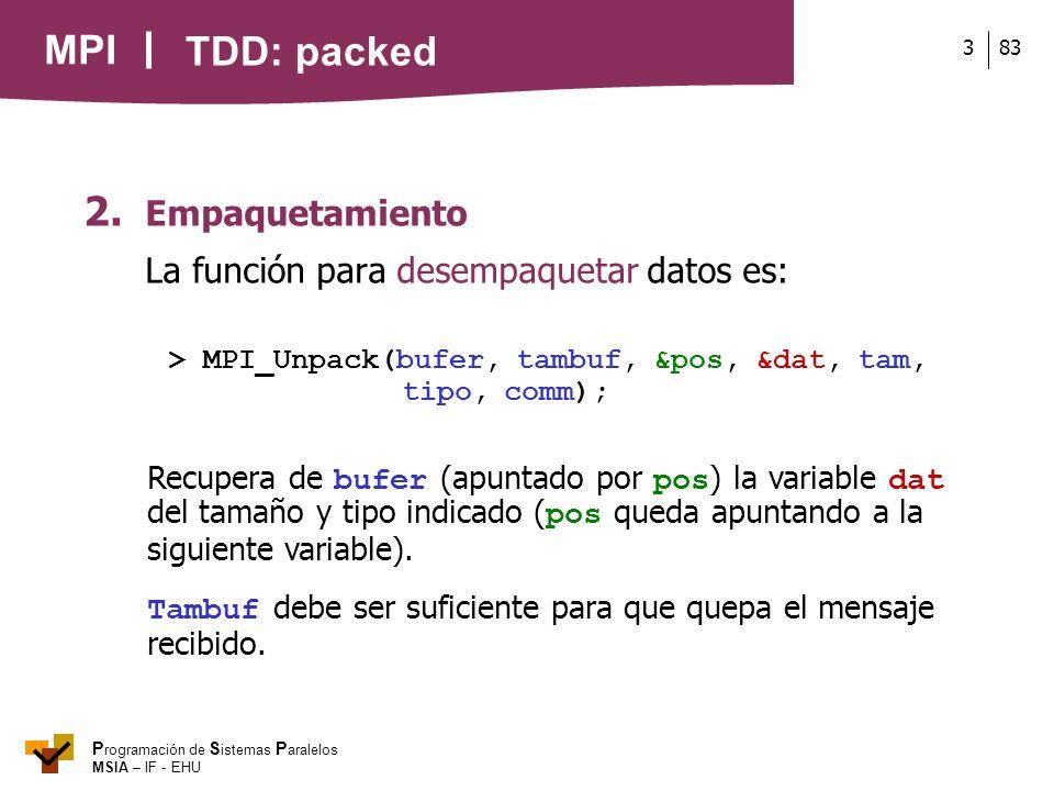 TDD: packed 2. Empaquetamiento La función para desempaquetar datos es: