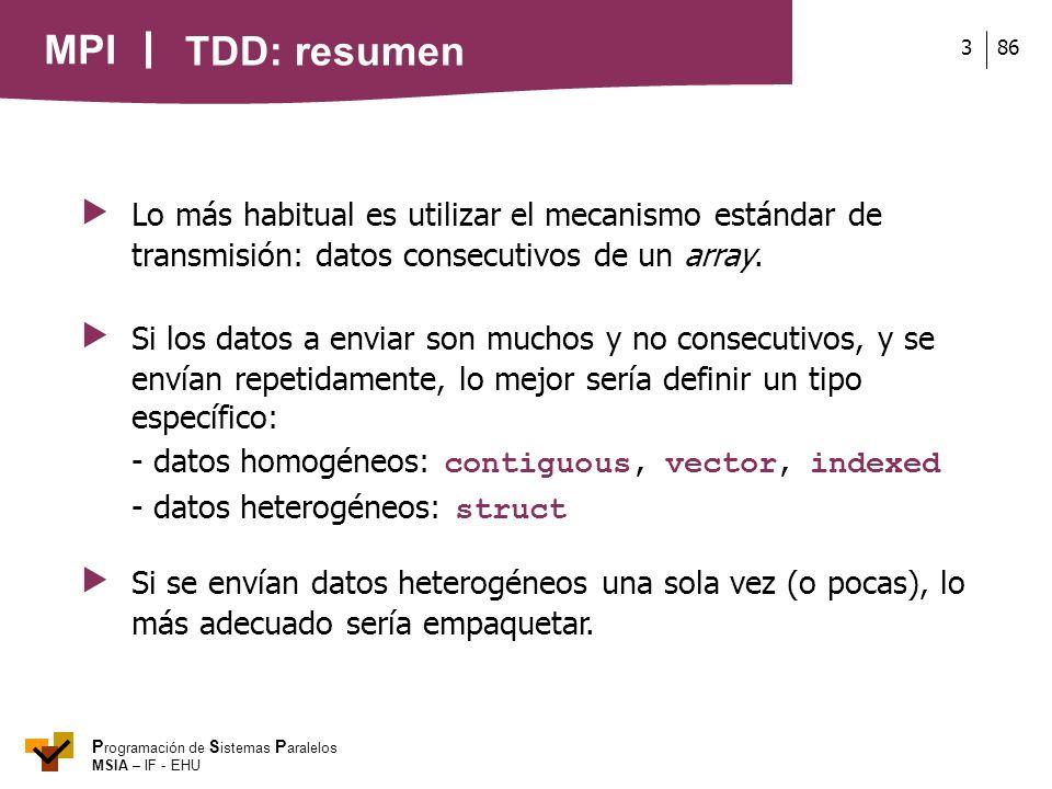 TDD: resumen  Lo más habitual es utilizar el mecanismo estándar de transmisión: datos consecutivos de un array.