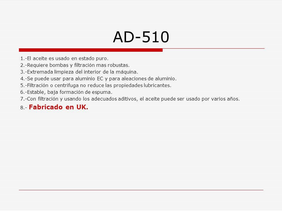 AD-510 1.-El aceite es usado en estado puro.