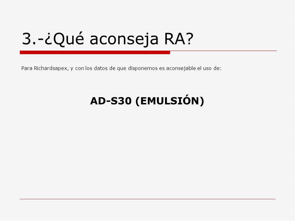 3.-¿Qué aconseja RA AD-S30 (EMULSIÓN)