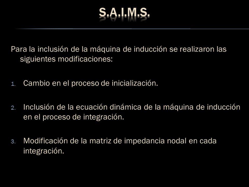 S.A.I.M.S. Para la inclusión de la máquina de inducción se realizaron las siguientes modificaciones: