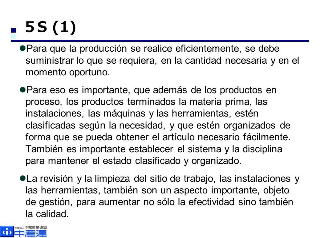 5S (1) Para que la producción se realice eficientemente, se debe suministrar lo que se requiera, en la cantidad necesaria y en el momento oportuno.