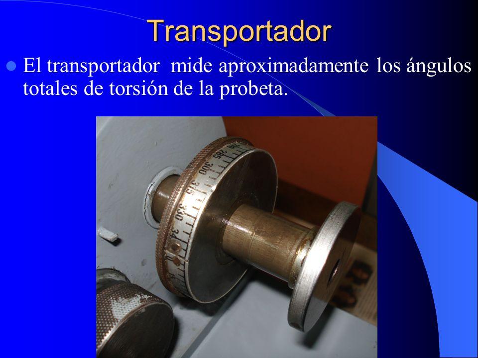 Transportador El transportador mide aproximadamente los ángulos totales de torsión de la probeta.