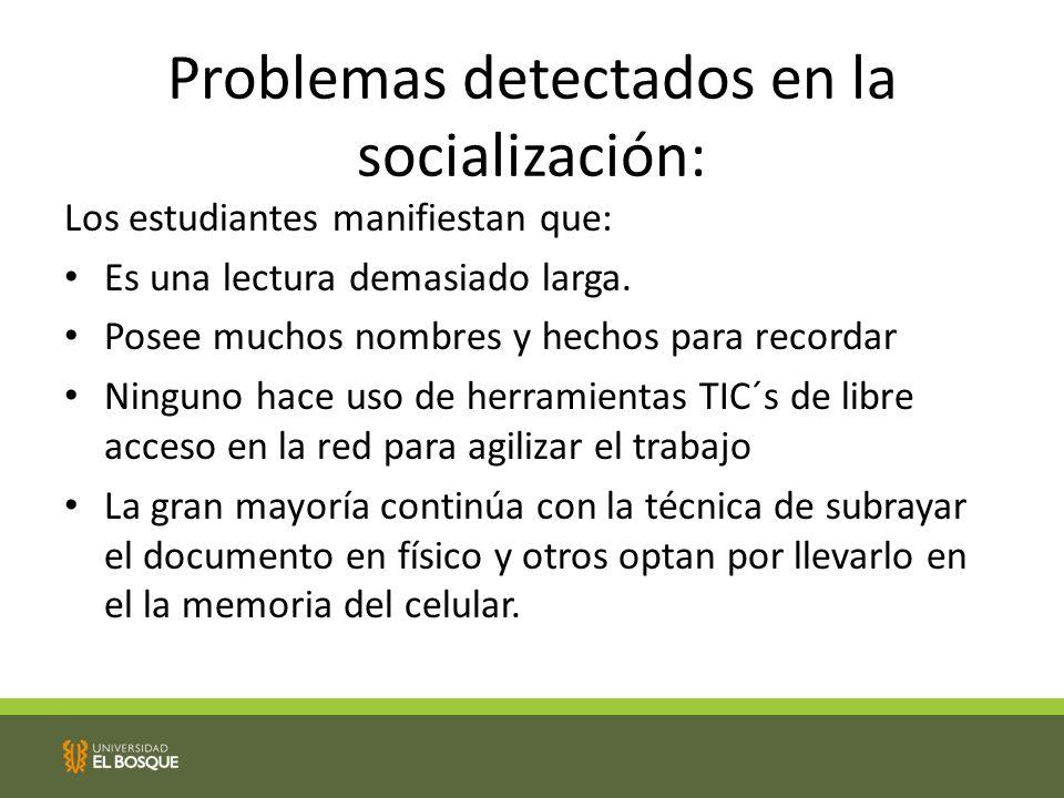 Problemas detectados en la socialización: