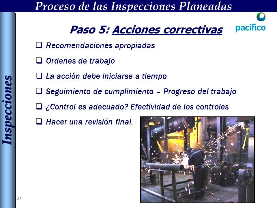 Proceso de las Inspecciones Planeadas Paso 5: Acciones correctivas