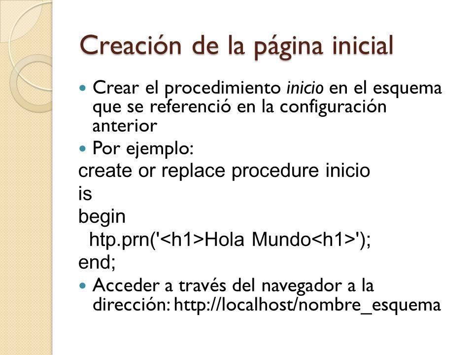 Creación de la página inicial