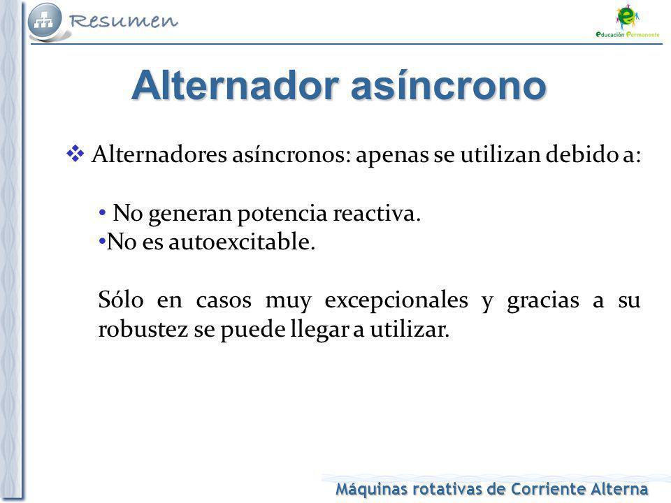 Alternador asíncrono Alternadores asíncronos: apenas se utilizan debido a: No generan potencia reactiva.