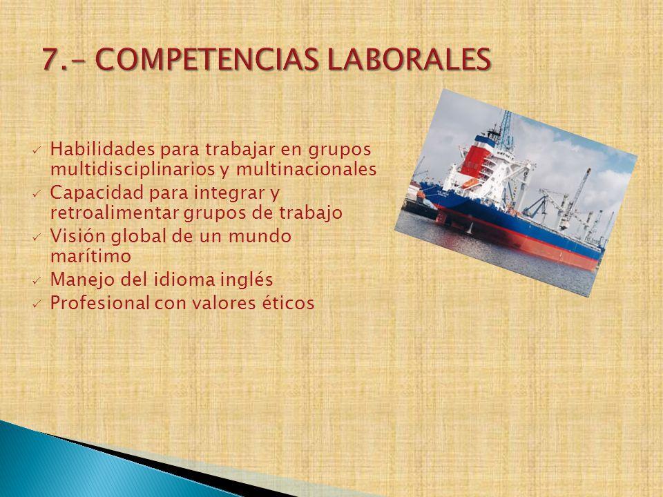 7.- COMPETENCIAS LABORALES