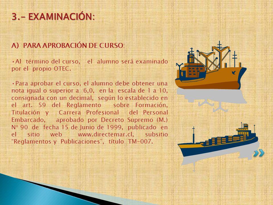 3.- EXAMINACIÓN: A) PARA APROBACIÓN DE CURSO: