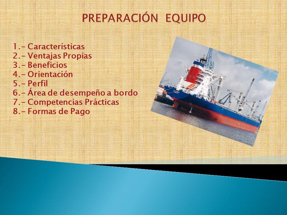PREPARACIÓN EQUIPO 1.- Características 2.- Ventajas Propias