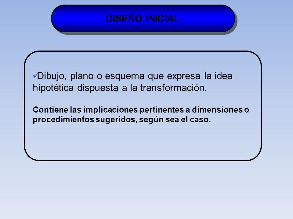 DISEÑO INICIAL Dibujo, plano o esquema que expresa la idea hipotética dispuesta a la transformación.