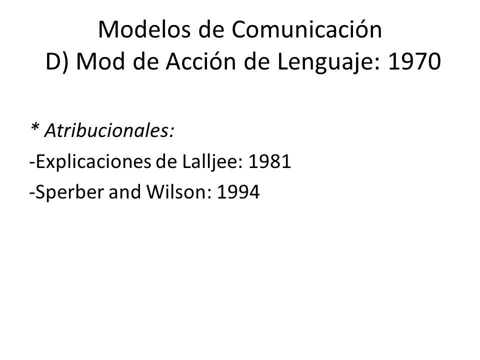 Modelos de Comunicación D) Mod de Acción de Lenguaje: 1970