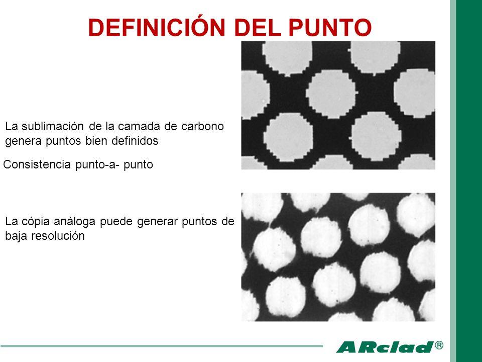 DEFINICIÓN DEL PUNTOLa sublimación de la camada de carbono genera puntos bien definidos. Consistencia punto-a- punto.
