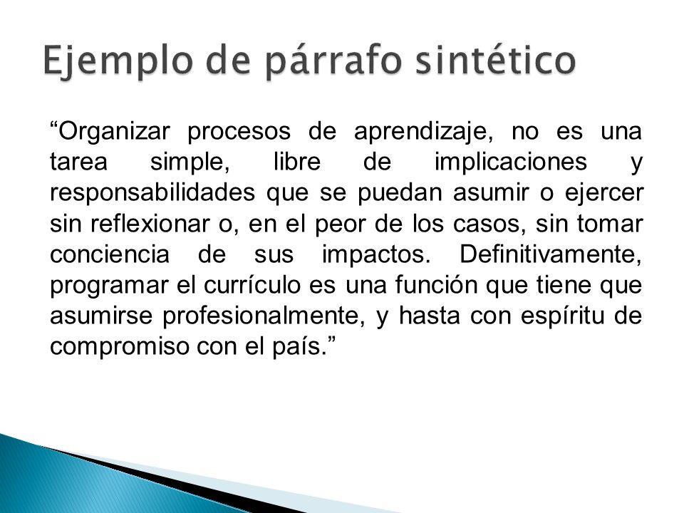 Ejemplo de párrafo sintético