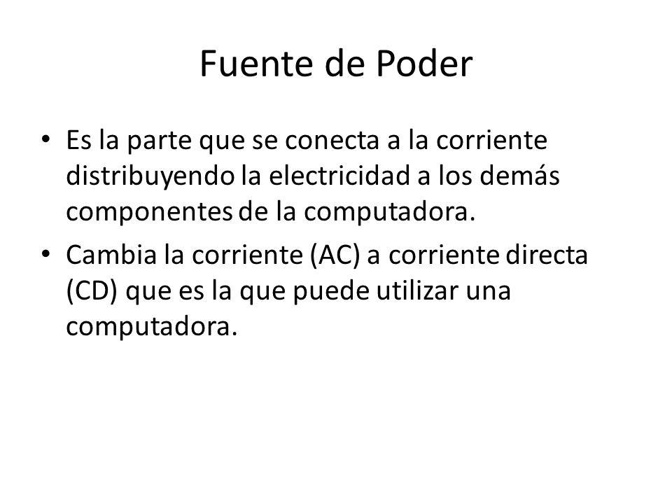 Fuente de Poder Es la parte que se conecta a la corriente distribuyendo la electricidad a los demás componentes de la computadora.