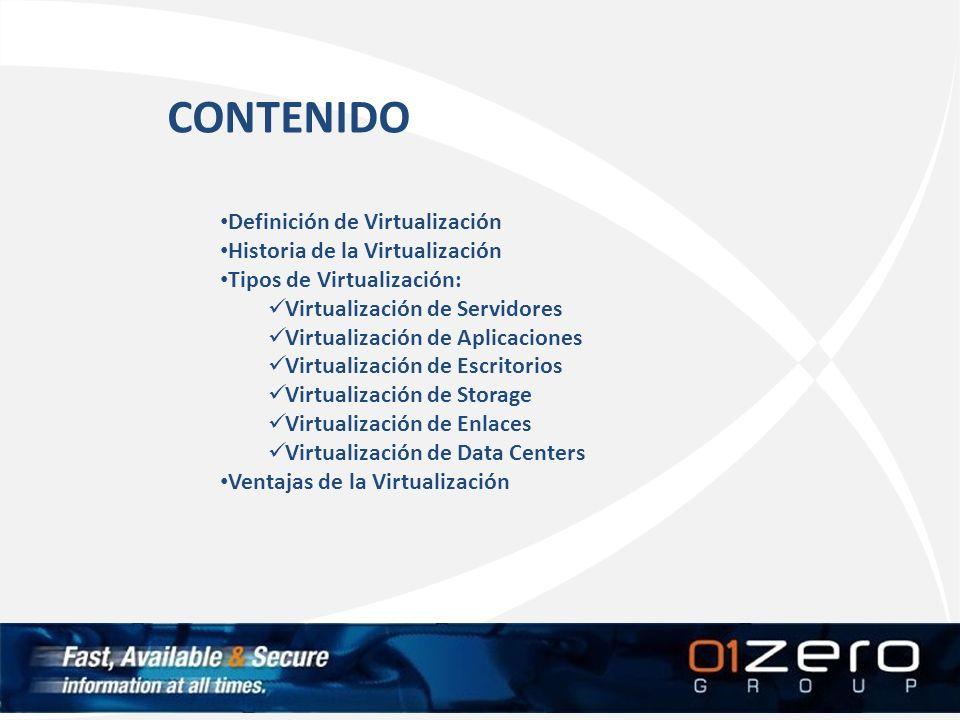 CONTENIDO Definición de Virtualización Historia de la Virtualización
