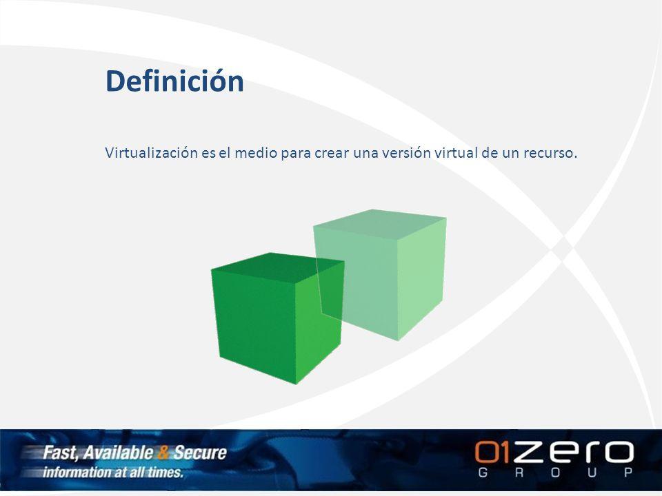 Definición Virtualización es el medio para crear una versión virtual de un recurso.