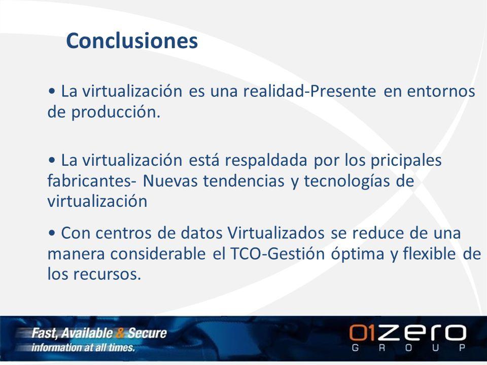 Conclusiones La virtualización es una realidad-Presente en entornos de producción.
