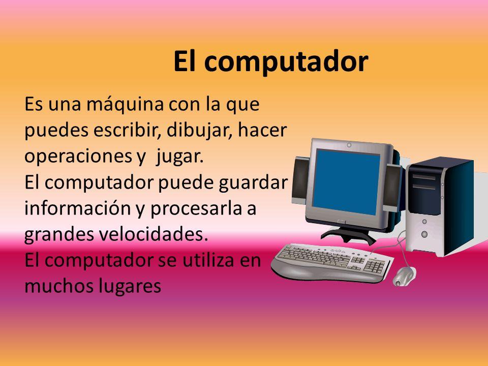 El computador Es una máquina con la que puedes escribir, dibujar, hacer operaciones y jugar.