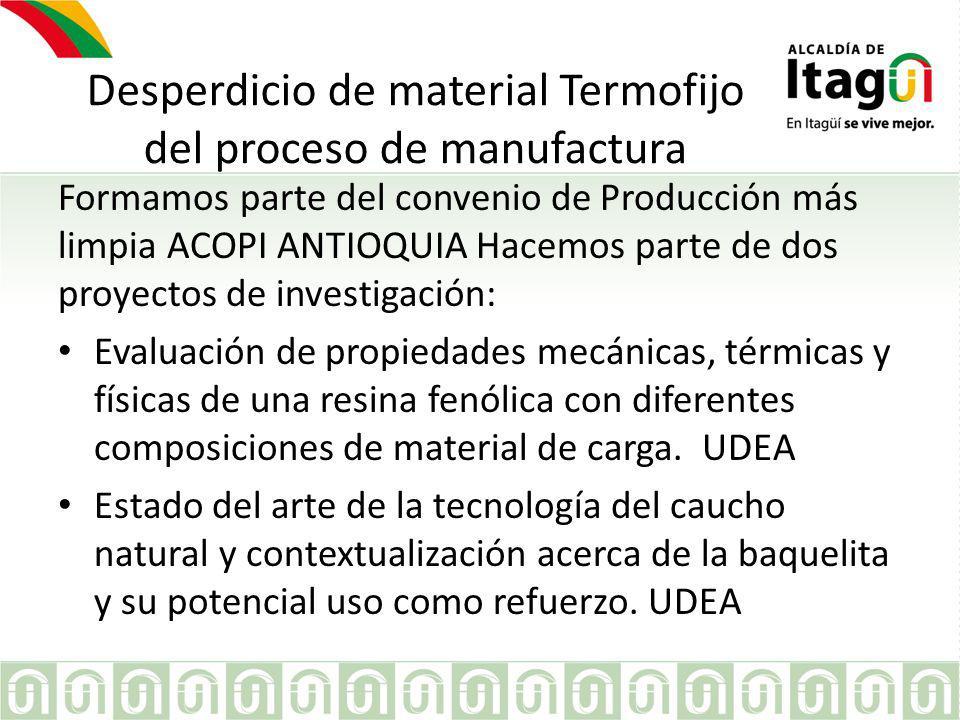 Desperdicio de material Termofijo del proceso de manufactura