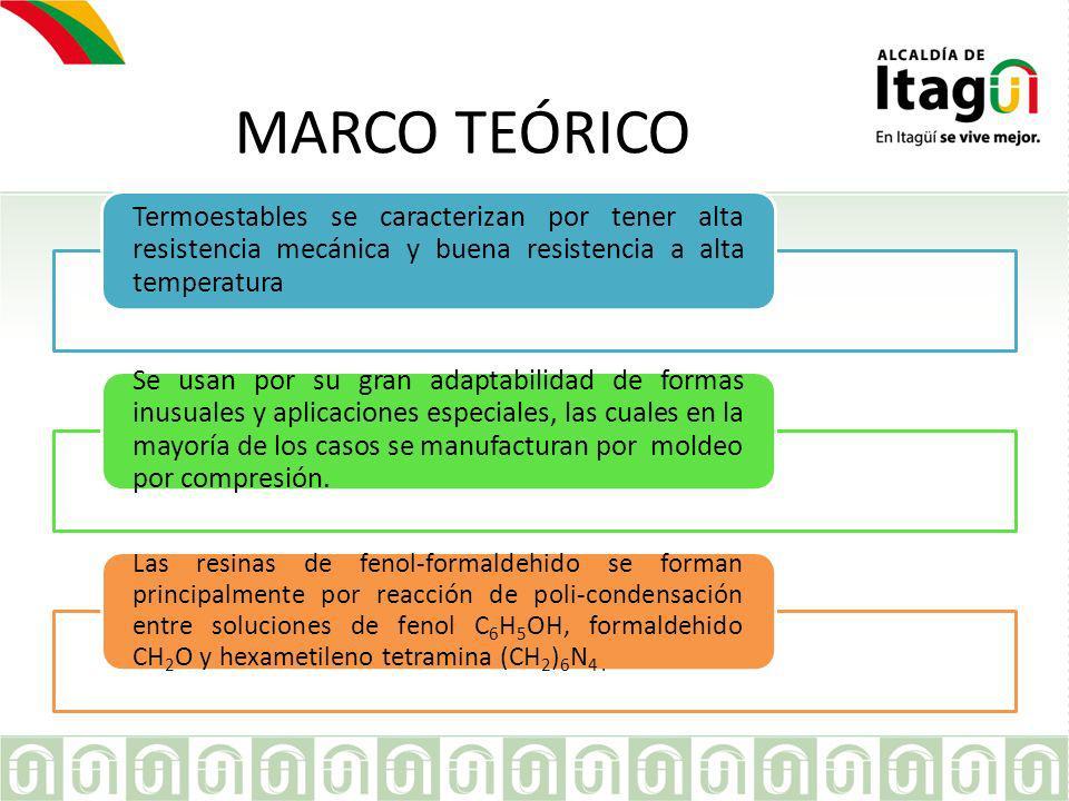 MARCO TEÓRICO Termoestables se caracterizan por tener alta resistencia mecánica y buena resistencia a alta temperatura.