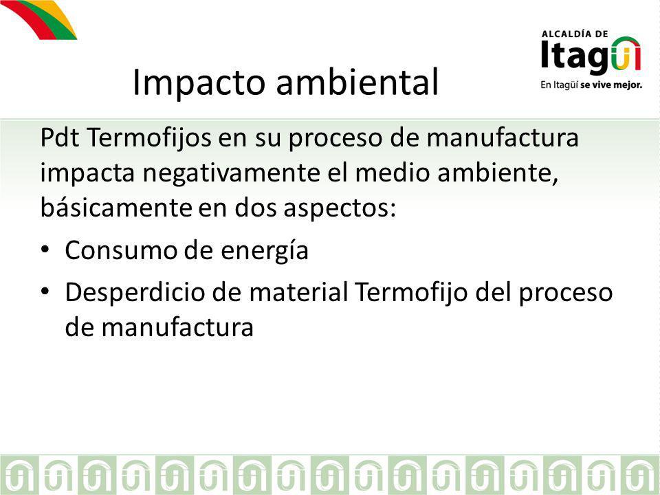 Impacto ambiental Pdt Termofijos en su proceso de manufactura impacta negativamente el medio ambiente, básicamente en dos aspectos: