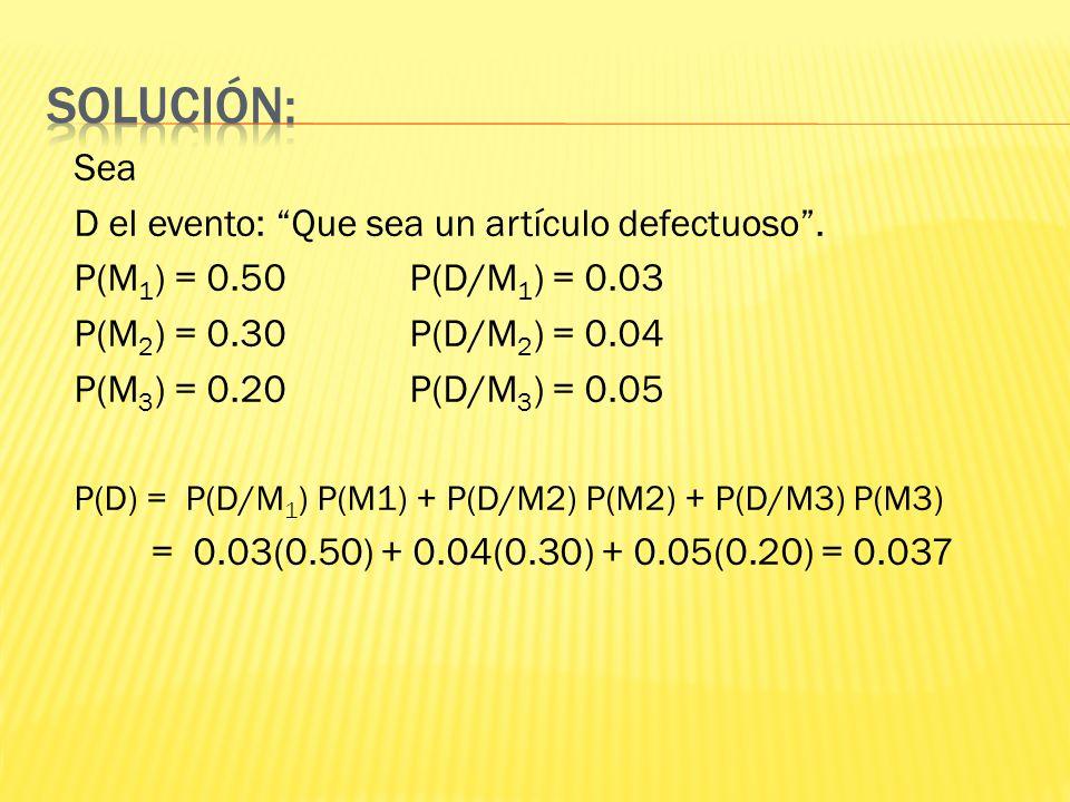 Solución: Sea D el evento: Que sea un artículo defectuoso .