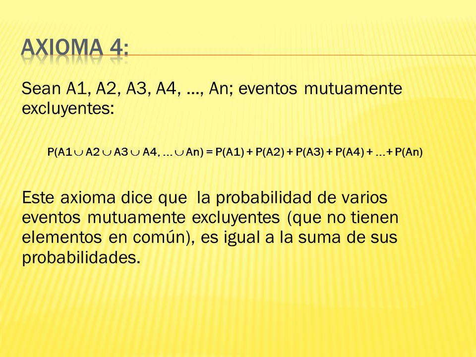 Axioma 4: Sean A1, A2, A3, A4, ..., An; eventos mutuamente excluyentes: P(A1  A2  A3  A4, ...  An) = P(A1) + P(A2) + P(A3) + P(A4) + ...+ P(An)