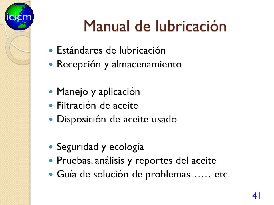 Manual de lubricación Estándares de lubricación