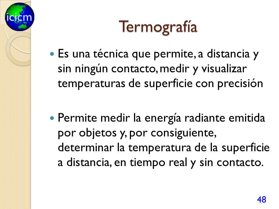 Termografía Es una técnica que permite, a distancia y sin ningún contacto, medir y visualizar temperaturas de superficie con precisión.
