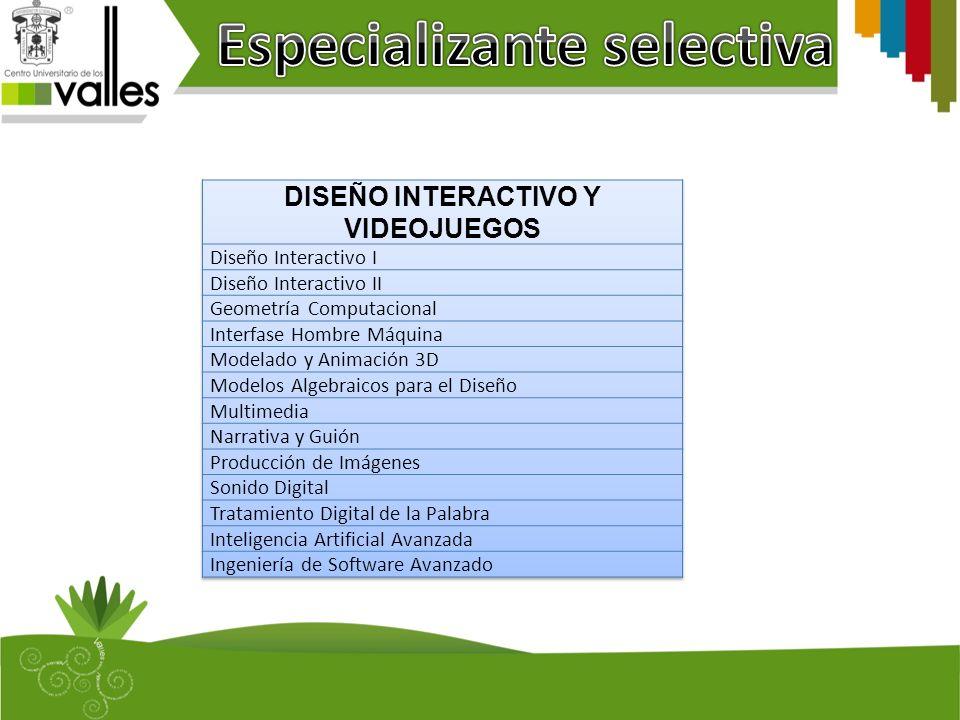 Especializante selectiva DISEÑO INTERACTIVO Y VIDEOJUEGOS