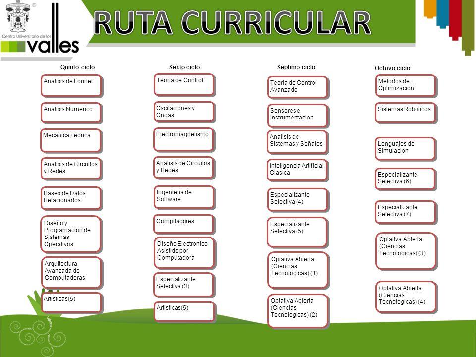 RUTA CURRICULAR Quinto ciclo Analisis de Fourier Analisis Numerico
