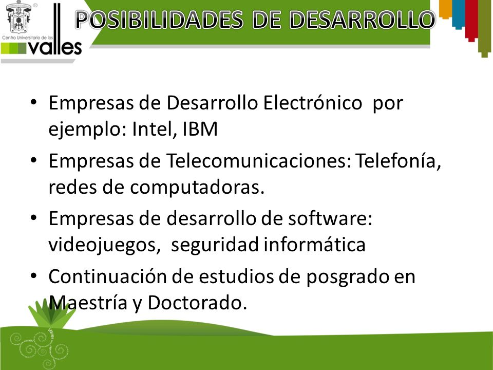 POSIBILIDADES DE DESARROLLO