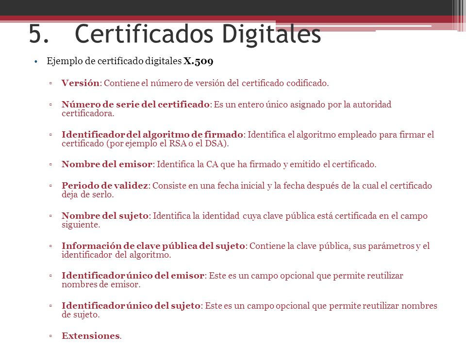 5. Certificados Digitales
