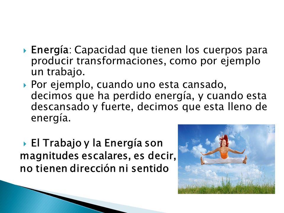 Energía: Capacidad que tienen los cuerpos para producir transformaciones, como por ejemplo un trabajo.