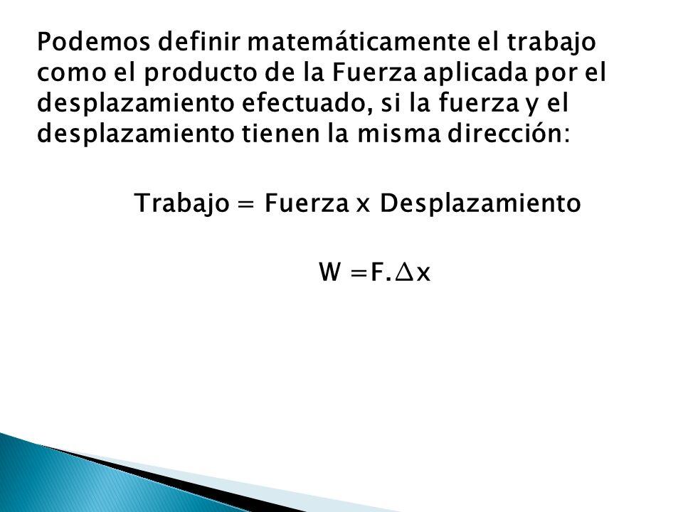 Podemos definir matemáticamente el trabajo como el producto de la Fuerza aplicada por el desplazamiento efectuado, si la fuerza y el desplazamiento tienen la misma dirección: Trabajo = Fuerza x Desplazamiento W =F.∆x