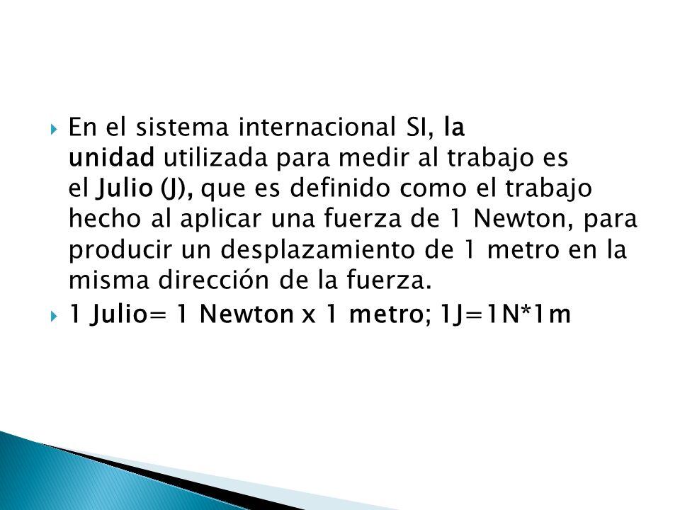 En el sistema internacional SI, la unidad utilizada para medir al trabajo es el Julio (J), que es definido como el trabajo hecho al aplicar una fuerza de 1 Newton, para producir un desplazamiento de 1 metro en la misma dirección de la fuerza.