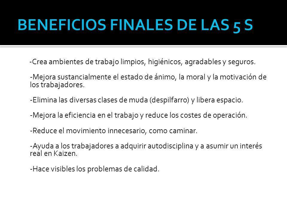 BENEFICIOS FINALES DE LAS 5 S