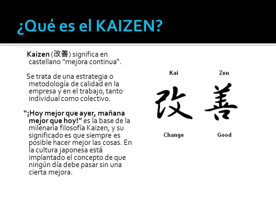¿Qué es el KAIZEN Kaizen (改善) significa en castellano mejora continua .