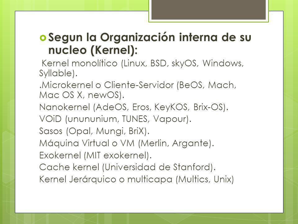 Segun la Organización interna de su nucleo (Kernel):