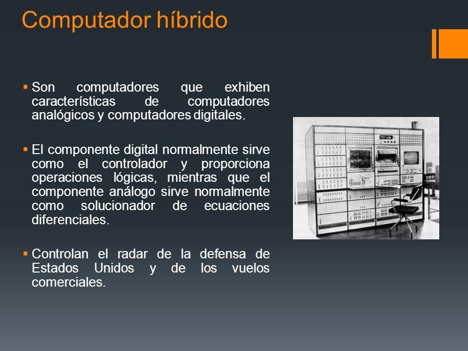 Computador híbrido Son computadores que exhiben características de computadores analógicos y computadores digitales.