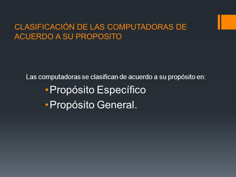CLASIFICACIÓN DE LAS COMPUTADORAS DE ACUERDO A SU PROPOSITO