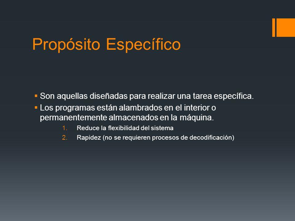 Propósito Específico Son aquellas diseñadas para realizar una tarea específica.